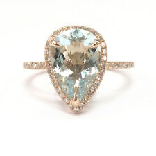 10x12mm Pear Cut Aquamarine Engagement Diamonds Halo Ring Solid 14K Rose Gold 6#