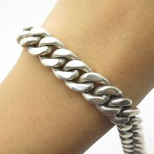 925 Sterling Silver Thick Heavy Wide Handmade Men's Cuban Link Bracelet 7 1/4""