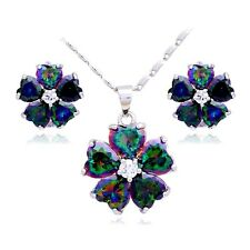 Flower Rainbow Mystic Topaz White Gold Filled Necklace And Earrings Set