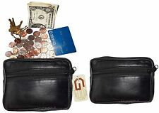 Coin case, Lambskin Leather Change purse, Coin holder, 3 zip pockets + Key ring
