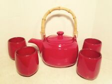 SOUTHERN LIVING AT HOME Tea Pot Bamboo Handle 4 Cups Cranberry Red