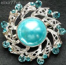NEW SILVER FLOWER BLUE CRYSTAL FAUX PEARL BROOCH WEDDING PARTY GIFT BROACH UK