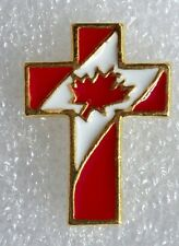 Christian Cross, Canadian Flag pin, gold plate, made in the USA!