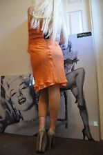 "PARTY MINI BRIGHT APRICOT SILVER & ORANGE BEADS ""TWIN-SET"" DRESS SILK   M"