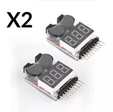 2 nouveau rc lipo batterie tension faible testeur 1-8S buzzer alarme checker indicateur led