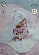 KNITTING PATTERN Baby Lion Hooded Blanket Yummy Chunky King Cole 4534