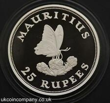 1975 MAURITIUS CONSERVATION BLUE BUTTERFLY SILVER PROOF 25 RUPEES COIN & CERT
