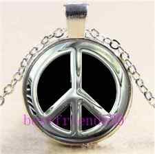 Metal peace sign Cabochon Glass Tibet Silver Chain Pendant Necklace