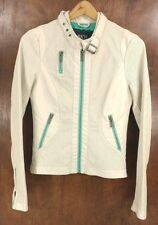 Womens BKE Outerwear Vegan Cream Turquoise Moto Jacket - Small - Nice!
