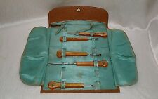 ANTIQUE LADIES LEATHER TRAVELING VANITY SET