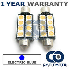 2X BLUE CANBUS NUMBER PLATE INTERIOR 6 SUPER BRIGHT SMD LED BULBS 42MM 14BX2
