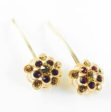 USA Bobby Pin Rhinestone Crystal Hair Clip Hairpin Jeweled Gold Brown New 2