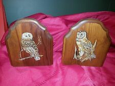 Vintage Wooden OWL BOOKENDS  Set of 2 Rustic Lodge or Lake Cabin Decor