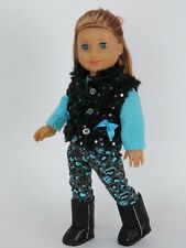 Leopard Leggings & Black Vest & Top Doll Clothes Fits 18 Inch American Girl