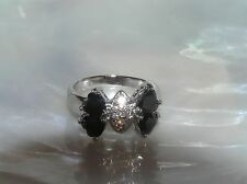 Estate SIlvertone Band with Black Heart Rhinestone & Clear Center Bow Tie Ring