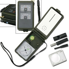 Camping Survival Gear 10 in 1 Multi-function Compass W Led Light #003