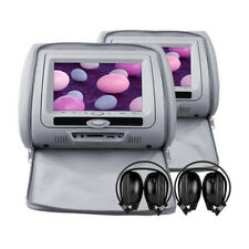 Grey Leather-Style DVD/USB/SD Car Headrests with 2 x IR Headphones UK WARRANTY