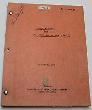 Abbott and Costello Meet Dr. Jekyll and Mr. Hyde, 1953 FILM EDITOR'S Own Script