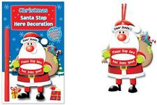 Hanging Santa Stop Here Door Window Hanger Xmas Decoration & Pen Personalise