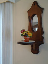 VINTAGE SOLID WOOD WALL MIRROR WITH SHELF