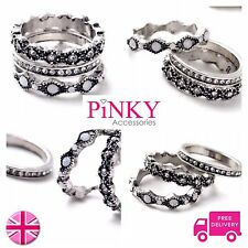 Stacking Rings x3 Silver Boho Diamonte Stackable Trio White New UK Knuckle