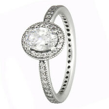 Elegance Ring 925 Solid Sterling Silver Vintage Oval Stone Pave Size 6 / 52