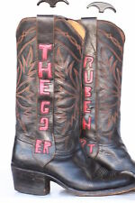Custom Mule Ear mens leather cowboy boots w/cutouts 10.5 D Awesome VTG Patina!