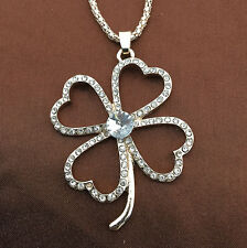 Rose Gold Plated Clear Crystal Four Leaf Clover Pendant Sweater Necklace