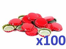 100 Red Home Brew Bottle Crown Caps 26mm Very Good Seal Quality, FAST DELIVERY