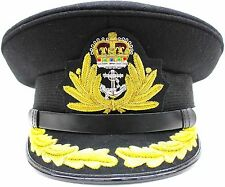 NEW ROYAL NAVY OFFICER HAT CAP CAPTAIN ( BLACK ) Size 62 R N COMMANDERS