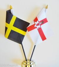 Wales St David's Cross & Northern Ireland Double Friendship Table Flag Set