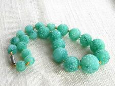Vintage Pressed glass large beads GREEN peking glass ~ restringed necklace ~
