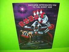 Zaccaria ROBOT Original 1985 Flipper Game Pinball Machine Promo Sales Flyer Rare
