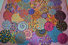 "100% French Silk Scarf Beautiful. Huge psychedelic design spirals 51"" x 51"""
