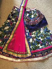 INDIAN HIGH QUALITY FLORAL HAND CRAFT DESIGNER MULTICOLORED LEHENGA CHOLI OS