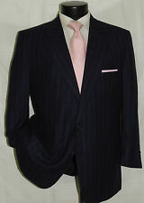 SULKA Blue stripe luxury flannel wool Men's custom made suit jacket pant 40 S