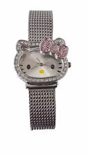 Hello Kitty Watch by Sanrio, All Silver Tone, Mesh Band HK1491  With Stone