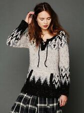 NWT $168 Free People black white FAIRISLE LACE UP PULLOVER Sweater M