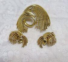Vintage Estate LISNER Gold Waterfall Brooch & Earring Set