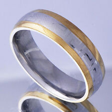 Mens stainless stee wedding Ring Size 11 Yellow silver Band Ring free shipping