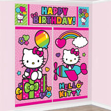 Hello Kitty Rainbow Birthday Pink Scene Setter Banner Wall Party Decoration Kit