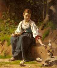 Delobbe Francois Alfred A Young Girl Feeding Baby Chicks A3 Box Canvas