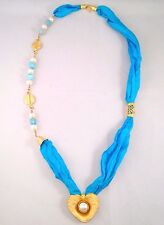 Handmade Asymmetric Genuine Blue Silk & Fresh Water Pearl & Agate Gems Necklace