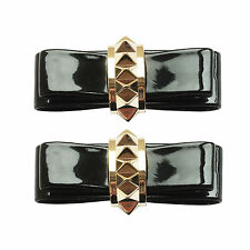 Patent Bow Stud Gold Ladies Shoe Clip Pair - Shoe Jewellery Pair