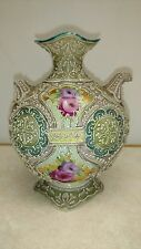 Antique ~Nippon~ ROYAL MORIYE Flower Hand Painted Heavy Moriage Bead Vase