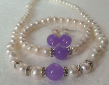 Real White Akoya Cultured Pearl & Alexandrite Necklace Bracelet Earrings Set