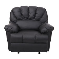 HomCom New Leather Recliner Chair Rocking Sofa Single Cushion Couch Black