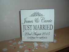 shabby & chic vintage wedding Just Married Free standing sign Personalised