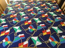 HUGE VINTAGE NAUTICAL SILK SCARF.  FLAGS AND KNOTS!  MINT.  39 x 38 INCHES.  FAB