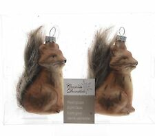 """2 Pcs - Foxes """" with Furry tail """" Glass Christmas tree ornament Christmas ball"""